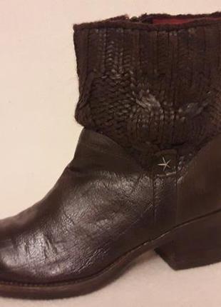 Натуральные кожаные ботинки, сапоги фирмы donna carolina ( италия) р. 37 стелька 24 см