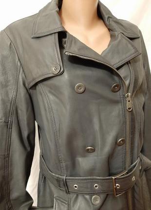 Натуральная кожа утепленная косуха удлинненная куртка  тренч плащ addy's jacket