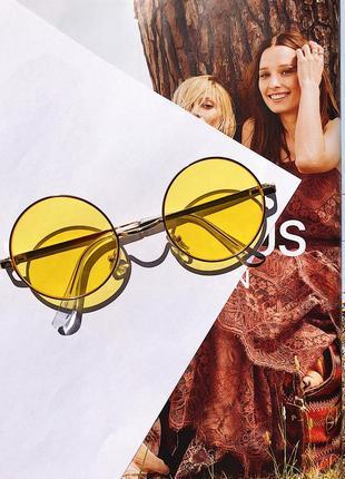 Желтые круглые имиджевые очки