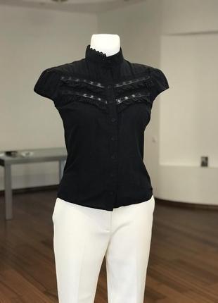 Хлопковая блуза с воротником стойкой, с красивым декором