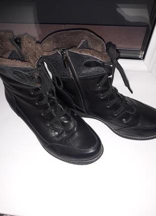 Ботинки кожаные на овчине р.40