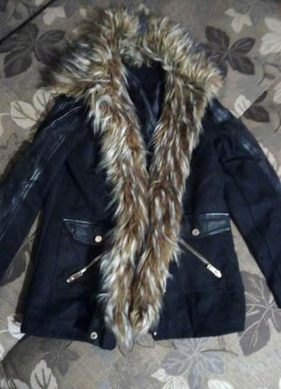 Пальто косуха с мехом