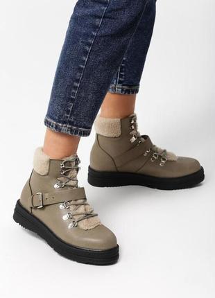 Новые женские зимние серые ботинки