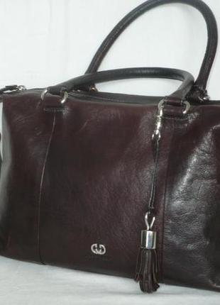 Gerry weber большая крепкая практичная кожаная сумка на плечо шкіряна сумка