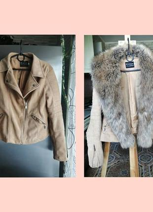 Куртка косуха под замш, трансформер со съёмным мехом.