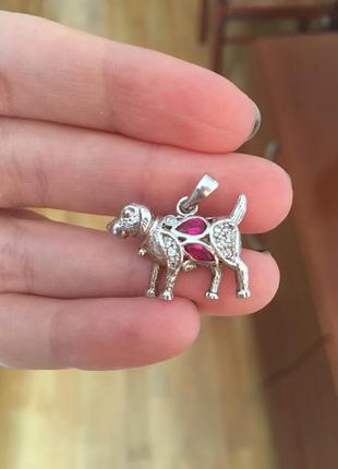 Сделано в италии серебро 925 рубины цирконии кулон подвеска собачка