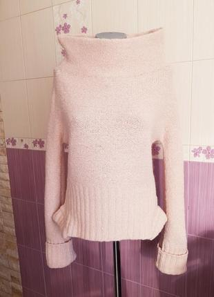 Мохеровый розовый теплющий свитер armani jeans необычный оригинал