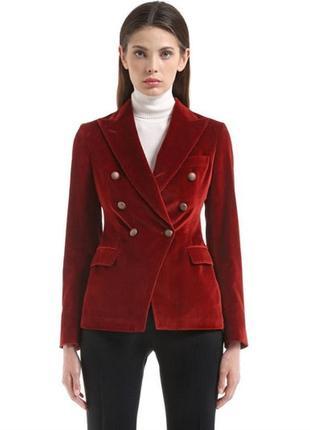 Велюровый брендовый двубортный жакет пиджак цвета марсала tagliatore s/36/8.