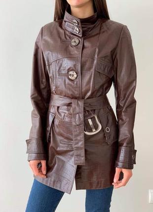 Куртка женская кожаная плащ