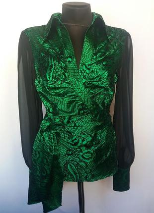 Стильная блуза на запах, зеленая. турция. новая, р-ры 42-46