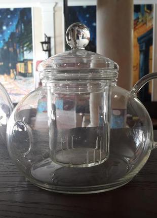 Стеклянный чайник с колбой 400мл