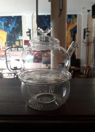 Набор чайник с печкой стекло