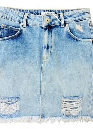 Джинсовая юбка рванка. синяя.