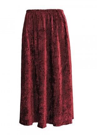 Бархатная юбка-плиссе. бордовая.
