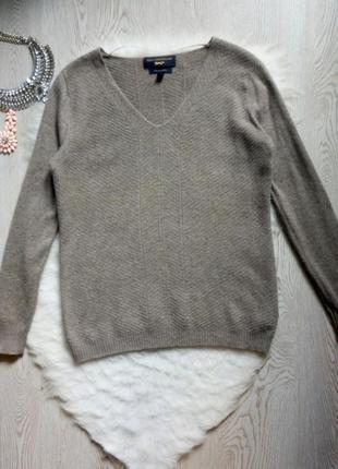 Серый натуральный кашемировый шерстяной свитер кофта вязанная с вырезом узором
