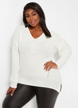 Белый вязанный свитер с вырезом большой размер кофта плюс сайз батал джемпер реглан