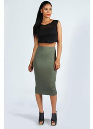 Стильная юбка миди оливкового цвета от boohoo, без следов носки