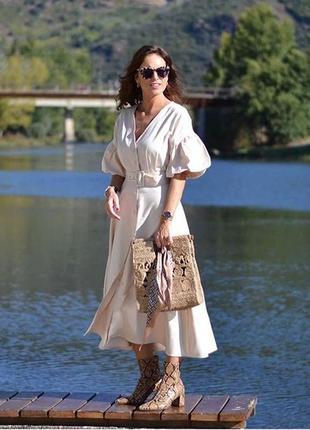 Zara платье миди с объёмными рукавами , s, m, l
