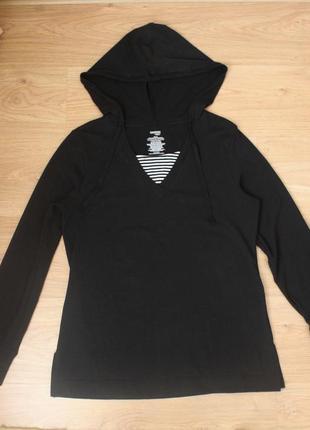 Свитшот худи спортивная кофта батник свитер danskin now чёрная с капюшоном удлиненная
