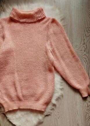 Розовый вязанный свитер обьемный оверсайз с горлом шерстью золотым люрекс кофта гольф2 фото
