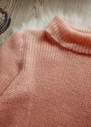 Розовый вязанный свитер обьемный оверсайз с горлом шерстью золотым люрекс кофта гольф4 фото