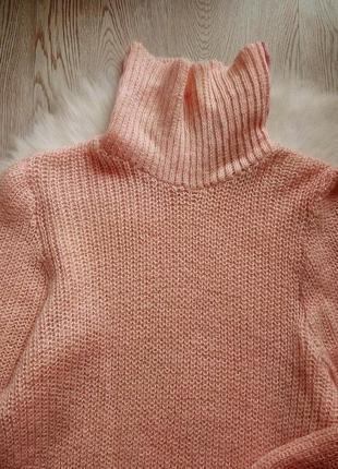 Розовый вязанный свитер обьемный оверсайз с горлом шерстью золотым люрекс кофта гольф5 фото