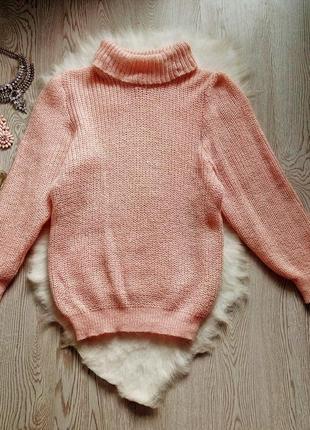 Розовый вязанный свитер обьемный оверсайз с горлом шерстью золотым люрекс кофта гольф