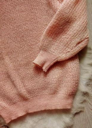 Розовый вязанный свитер обьемный оверсайз с горлом шерстью золотым люрекс кофта гольф3 фото