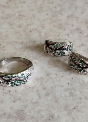 Серебряные сережки с деревом и кольцо