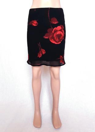 Летняя юбка с цветочным принтом, xs-s