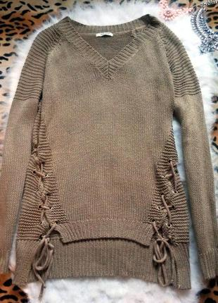 Длинный свитер завязками шнуровкой кофта оверсайз вязанная джемпер туника люверсами вырез