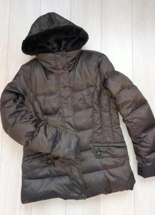 Короткий пуховик, куртка коричневая