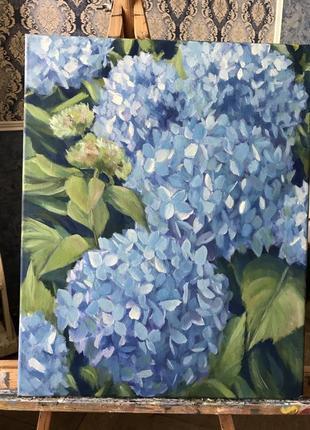 Картина маслом живопись цветы гортензии