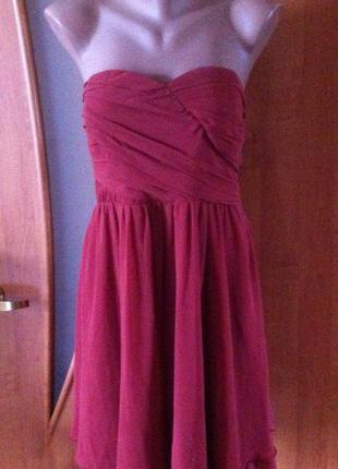Красивое короткое бордовое платье-бюстье