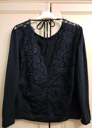 Красивая черная кофточка с кружевной спинкой ,р.44-46