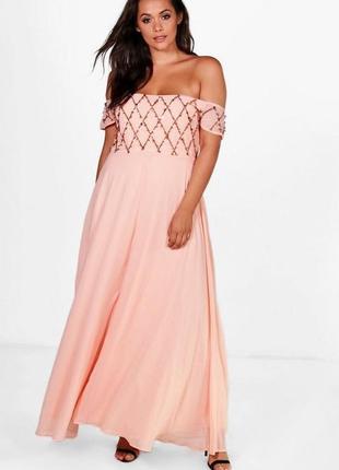 Красивое нежное персиковое вечернее выпускное длинное платье boohoo