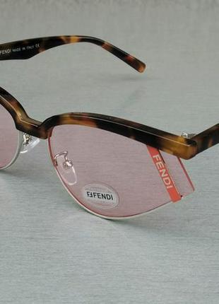 Fendi очки женские солнцезащитные розовые в коричневой оправе