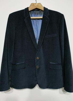 L xl 50 52 ted baker london пиджак велюровый блейзер жакет синий мужской