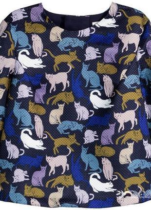 Кофта блуза h&m принт фактурная ткань eur 34/36
