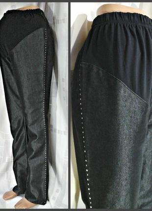 Графитовые джинсы со стразами на боках, для беременных