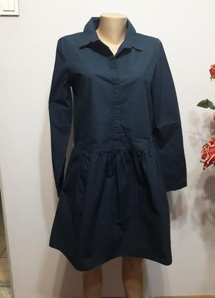 Большой выбор брендовых вещей! платье-рубашка темно-синее1 фото