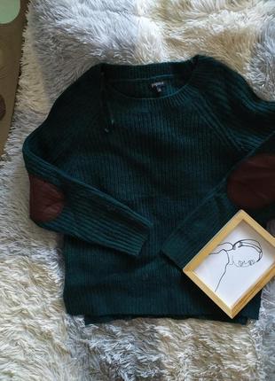 Светр свитер кофта хаки базовая яркая нашивки вязанная