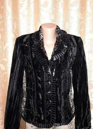 🌺🎀🌺красивый женский черный велюровый, бархатный пиджак, жакет la strada🔥🔥🔥