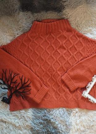 Светр свитер кофта кроп укороченный рижая вязанная