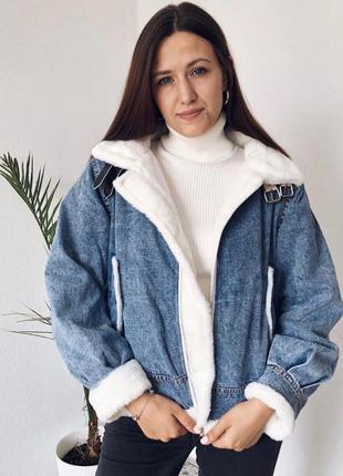 Джинсовка на меху джинс коттон теплая с карманами