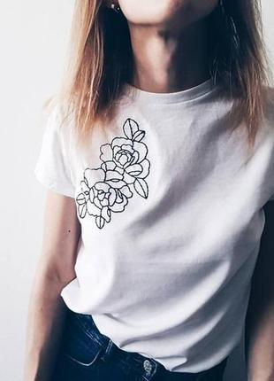 Крутая футболка с ручной росписью красками рисунок не принт минимализм цветы тату