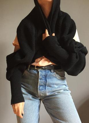 Шарф - рукава . чёрный хлопковый , снуд