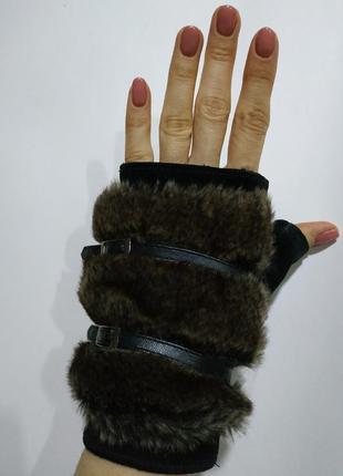 Рукавички митенки модні шкіряні жіночі