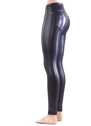 Женские леггинсы лосины кожаные  высокая посадка1 фото