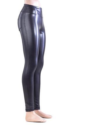 Женские леггинсы лосины кожаные  высокая посадка2 фото